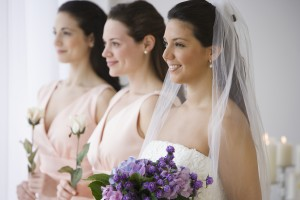 bride with bridesmaids in Guelph, Ontario