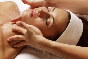 woman getting facial at a spa in Guelph, Ontario